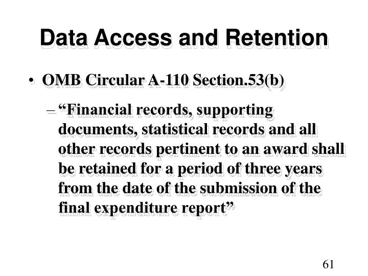 Data Access and Retention
