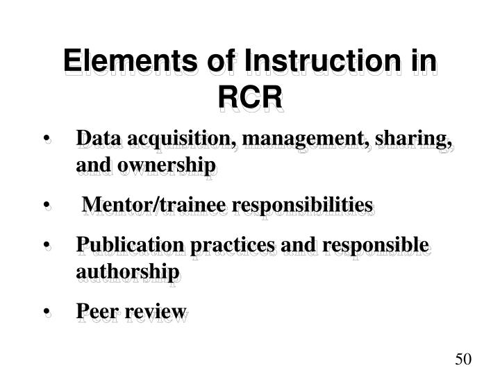 Elements of Instruction in RCR