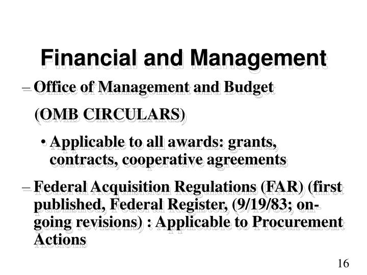 Financial and Management