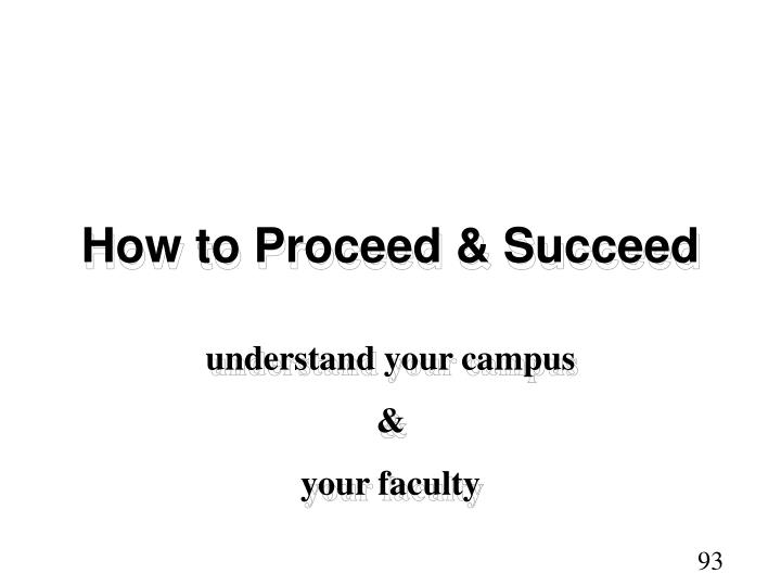 How to Proceed & Succeed