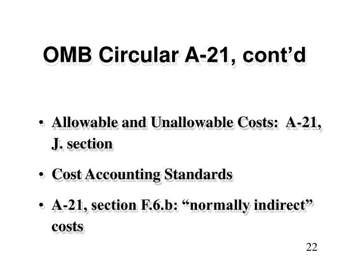 OMB Circular A-21, cont'd