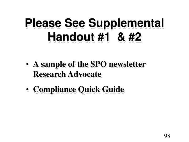Please See Supplemental Handout #1  & #2