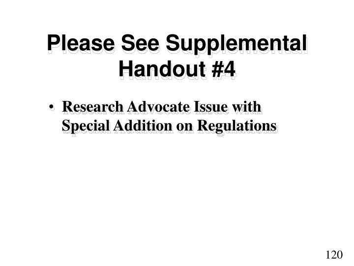 Please See Supplemental Handout #4