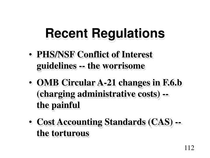 Recent Regulations