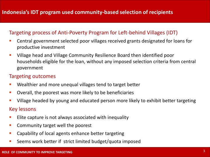 Indonesia's IDT program used community-based selection of recipients