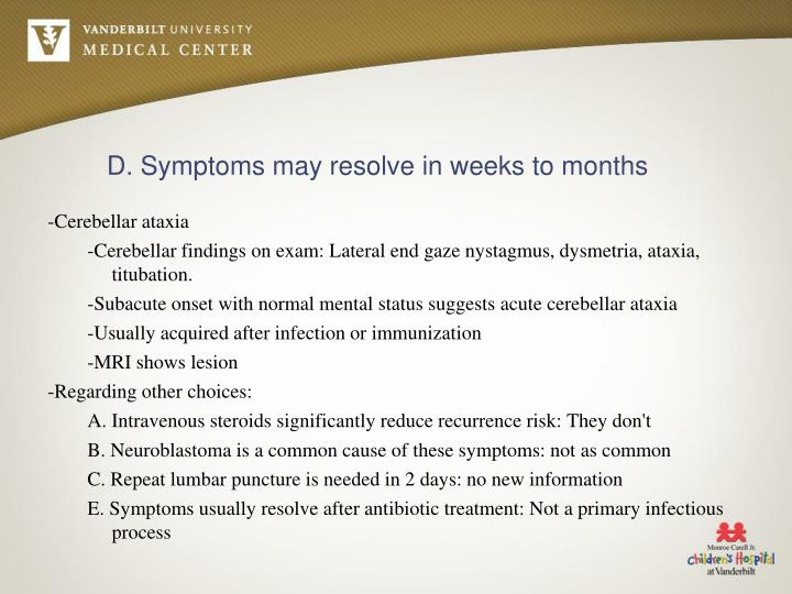 D. Symptoms may resolve in weeks to months