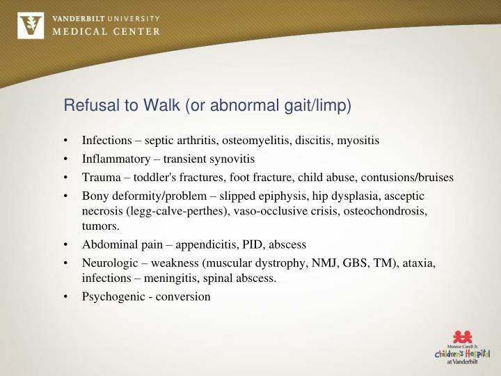 Refusal to walk or abnormal gait limp