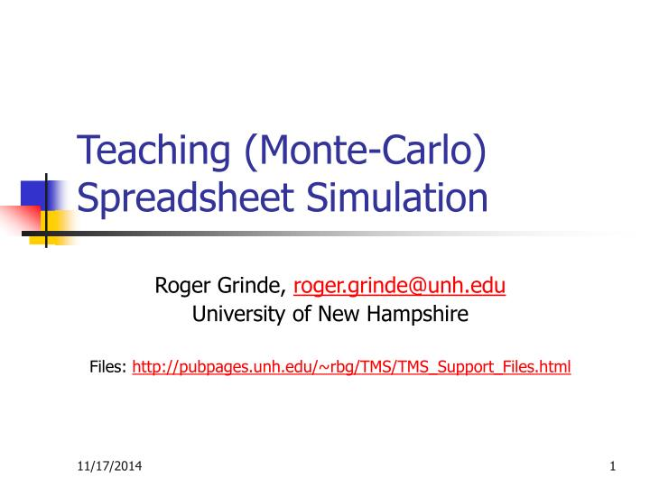teaching monte carlo spreadsheet simulation n.