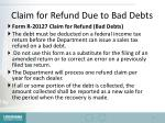 claim for refund due to bad debts