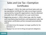 sales and use tax exemption certificates