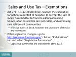 sales and use tax exemptions