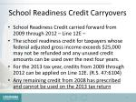 school readiness credit carryovers