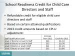 school readiness credit for child care directors and staff