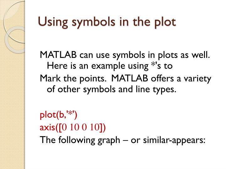 Using symbols in the plot