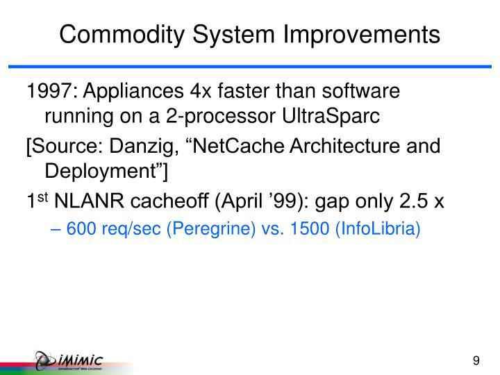 Commodity System Improvements