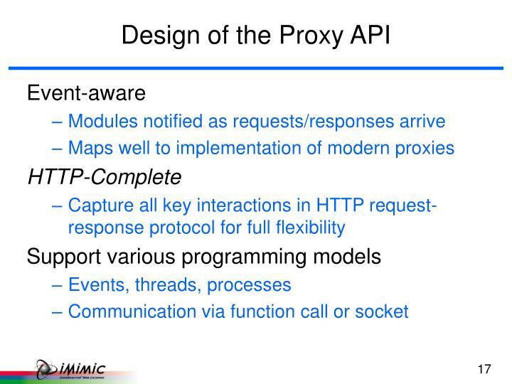 Design of the Proxy API
