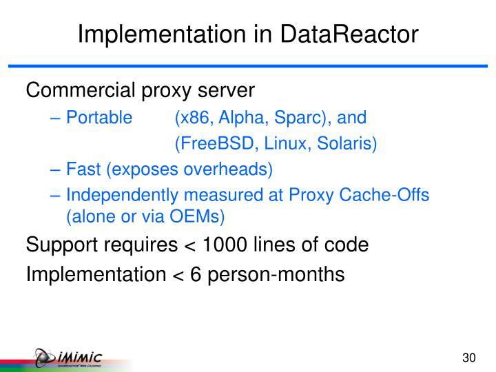 Implementation in DataReactor