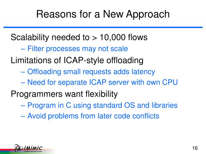 Reasons for a New Approach