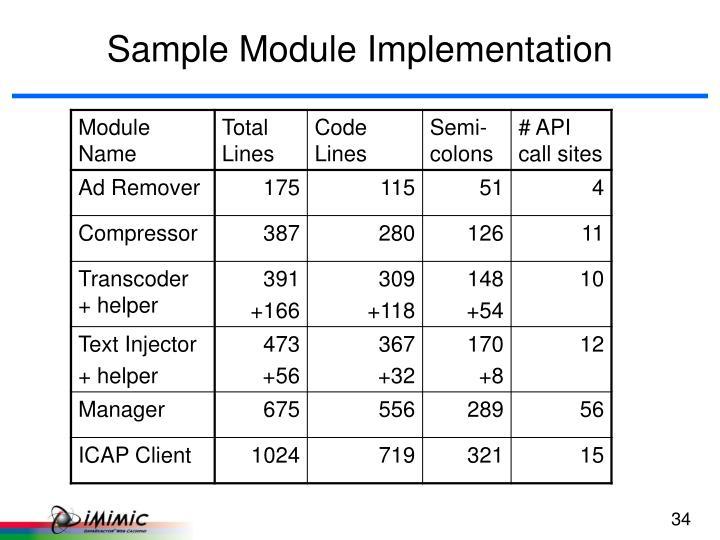 Sample Module Implementation