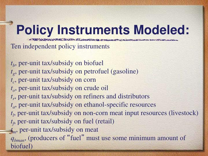 Policy Instruments Modeled: