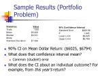 sample results portfolio problem