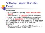 software issues discrete event