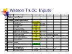 watson truck inputs