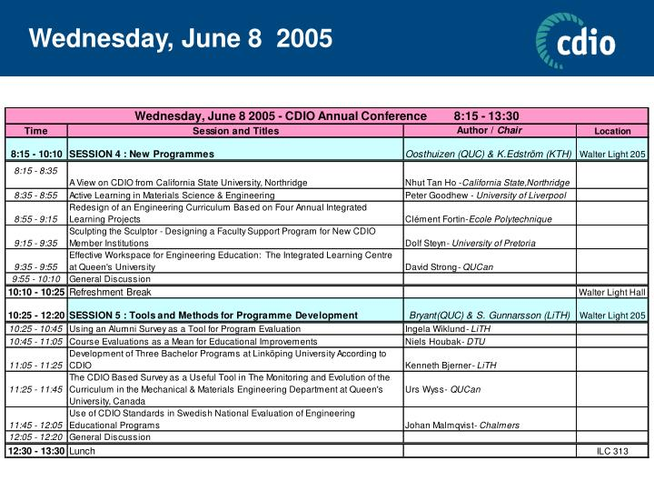 Wednesday, June 8  2005