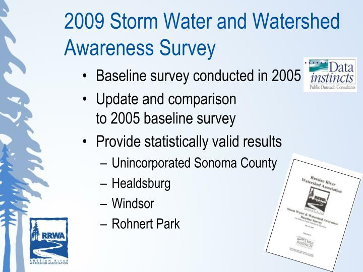2009 Storm Water and Watershed Awareness Survey