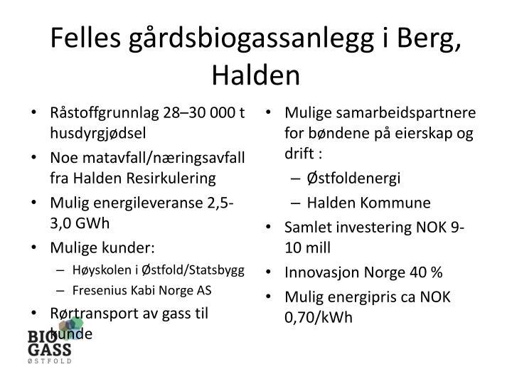 Felles gårdsbiogassanlegg i Berg, Halden