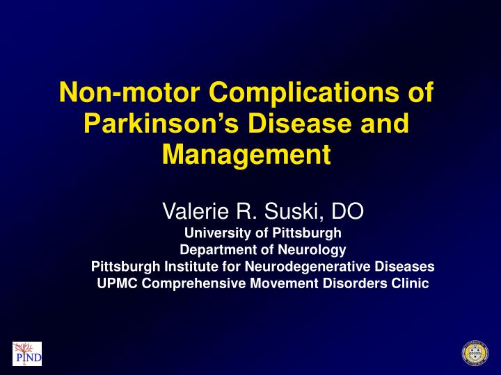 Non motor complications of parkinson s disease and management
