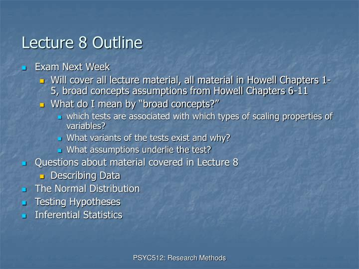 Lecture 8 outline