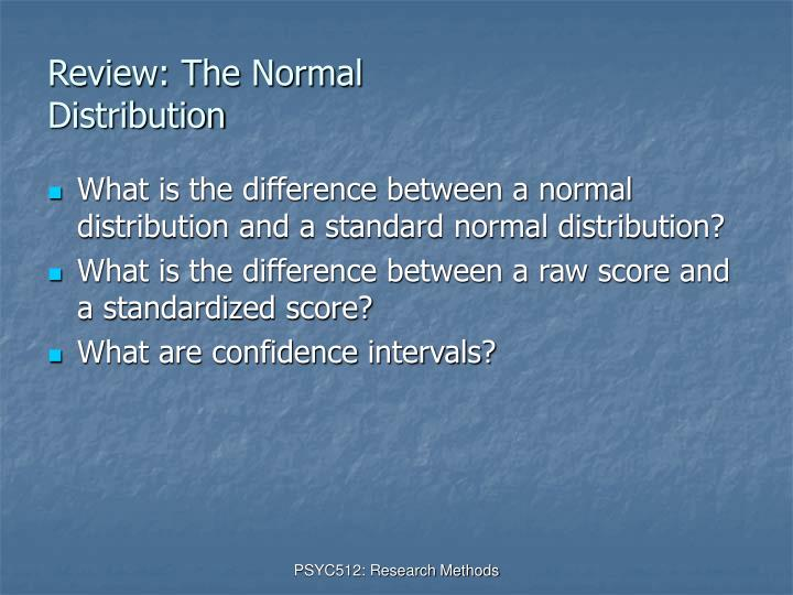 Review the normal distribution