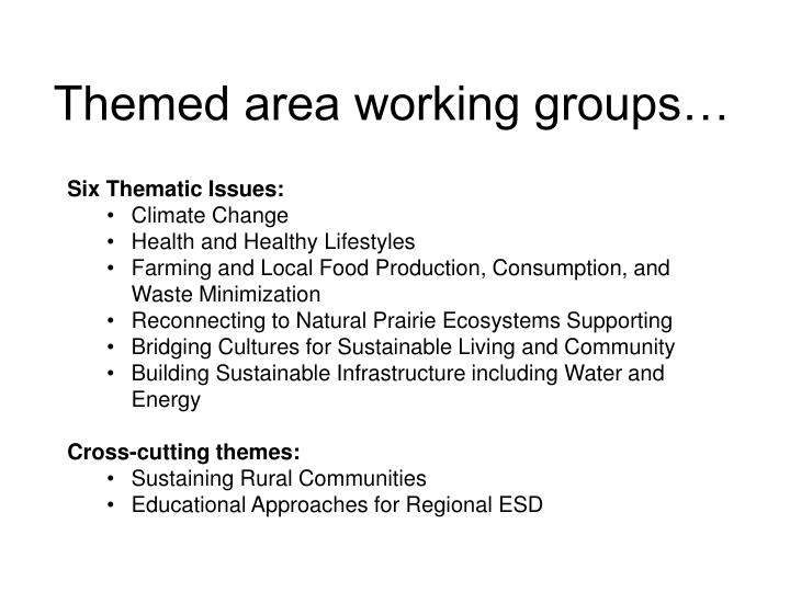 Themed area working groups…