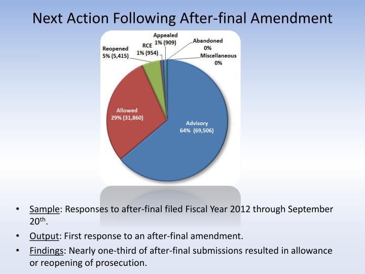 Next Action Following After-final Amendment