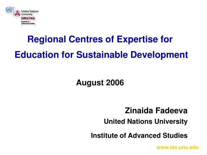 regional centres of expertise for education for sustainable development august 2006 n.