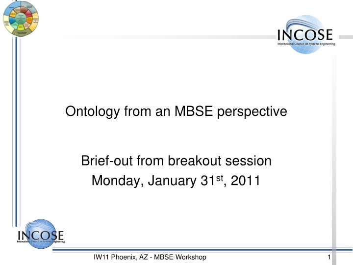 ontology from an mbse perspective n.