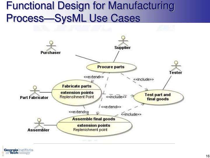 Functional Design for Manufacturing Process—SysML Use Cases