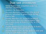 dual task procedures