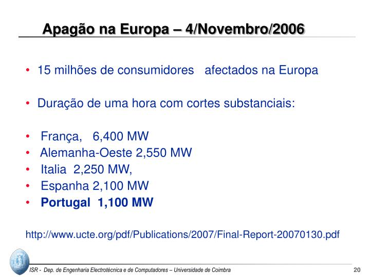 Apagão na Europa – 4/Novembro/2006