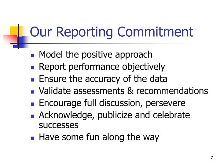 Our Reporting Commitment