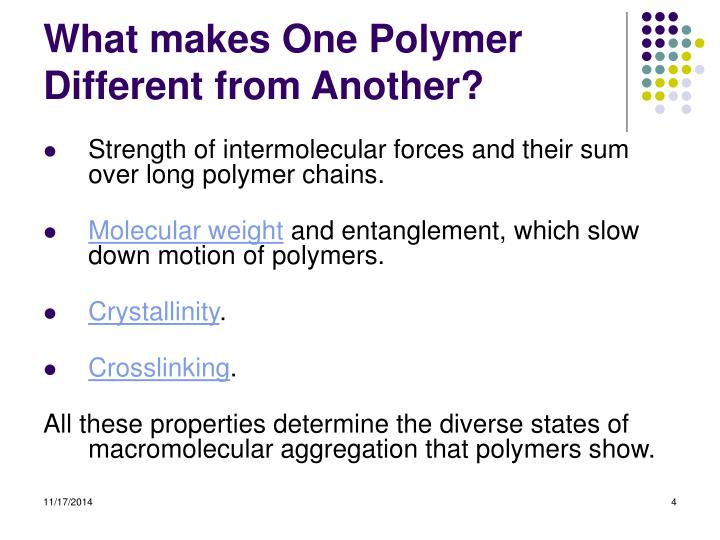 What makes One Polymer Different from Another?