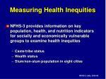measuring health inequities