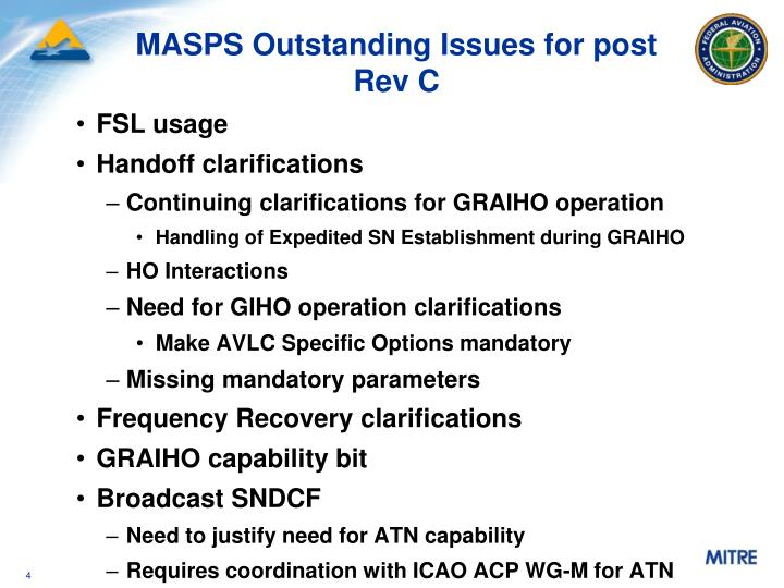 MASPS Outstanding Issues for post Rev C