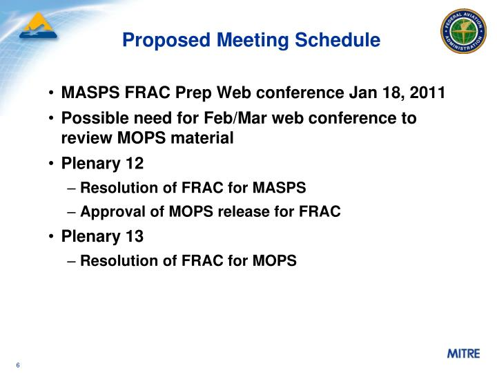 Proposed Meeting Schedule