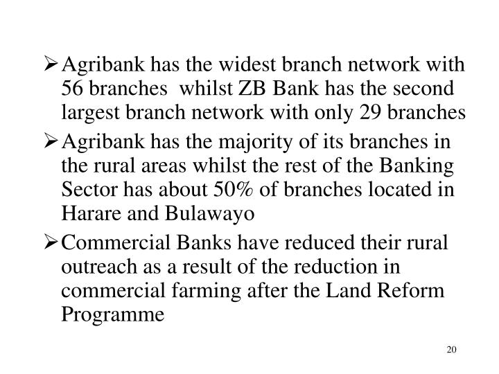 Agribank has the widest branch network with 56 branches  whilst ZB Bank has the second largest branch network with only 29 branches