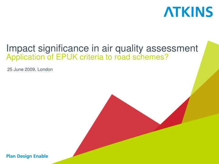 impact significance in air quality assessment n.