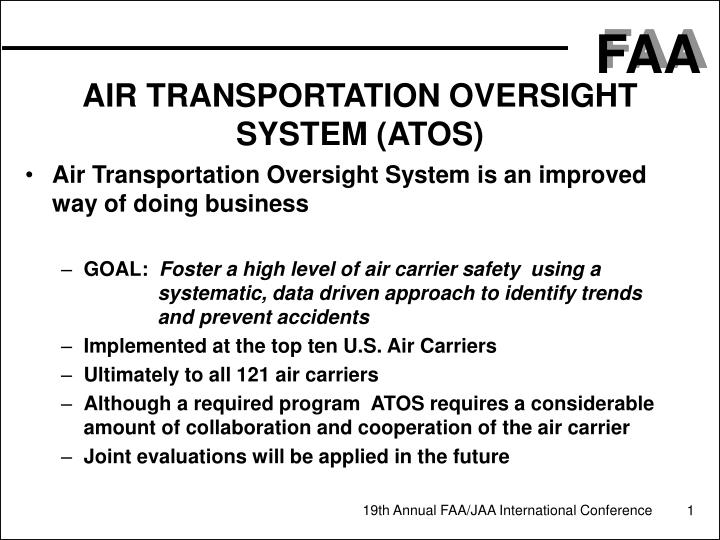 Air transportation oversight system atos
