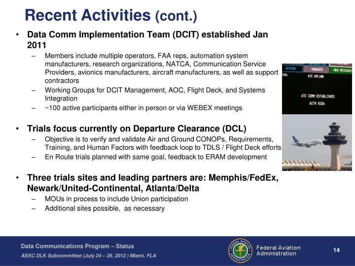 Data Comm Implementation Team (DCIT) established Jan 2011