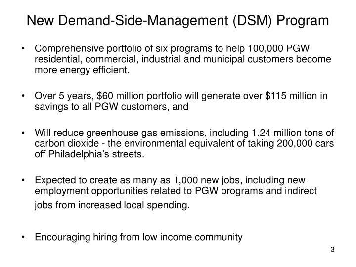 New demand side management dsm program